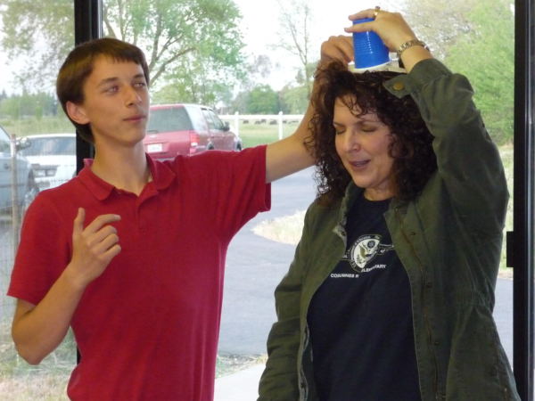 Here Andrew demonstrates a characteristic of polymers with his willing volunteer Barbara--our local newpaper reporter.